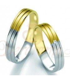 Βέρες γάμου δίχρωμες με διαμάντι Breuning 7103-7104