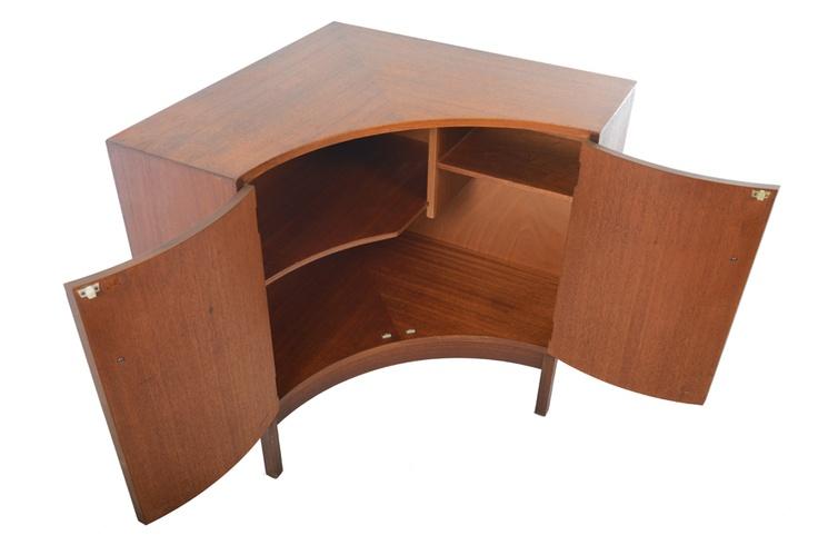 Mid Century Corner Cabinet: English Modern Mid Century Corner Cabinet In Teak.
