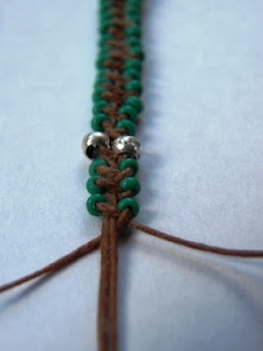 Beaded wrap with waxed linen cord and seed beads
