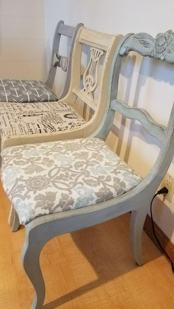 Refurbished Chairs, chalk painted and dark wax.