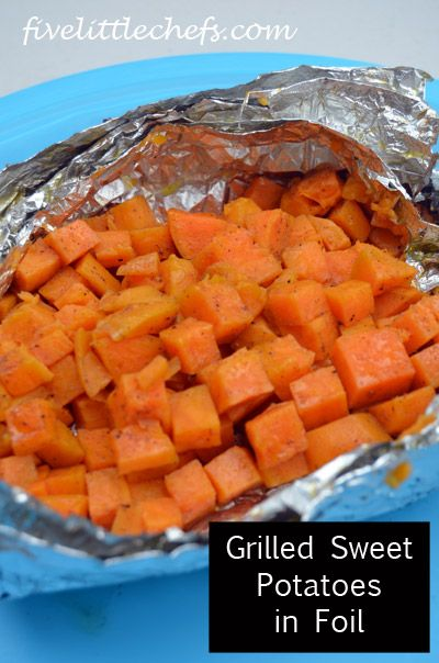 Grilled Sweet Potatoes in foil is a fun way to cook perfectly soft sweet potatoes. It's a grilling recipe with fast cleanup!