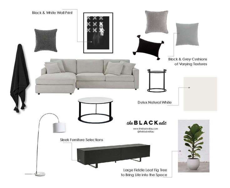 relaxed monochrome lounge (or home theatre) mood board