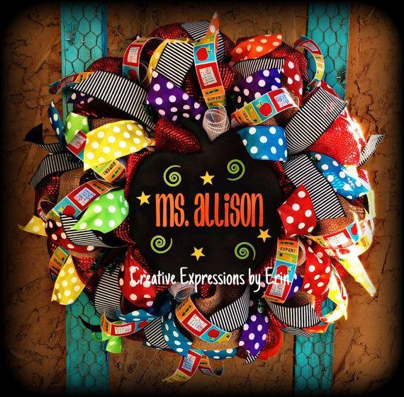 Teacher wreath, classroom wreath, classroom decor, back to school, chalkboard apple, chalkboard, apple, polka dots, burlap, red, welcome