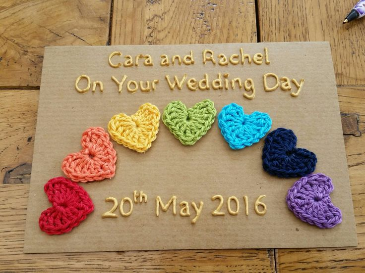 Wedding card I crocheted for Cara and Rachel #gaypride