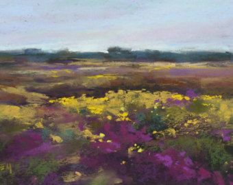 ICELAND Art  Landscape with wildflowers Original Pastel Painting Karen Margulis 7x11