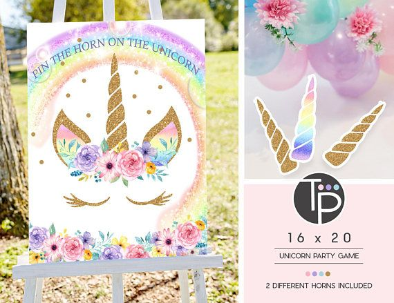 PIN THE HORN ON THE UNICORN GAME - PRINTABLE UNICORN GAME INSTANT DOWNLOAD DIGITAL FILE - PRINT TODAY! DIY 16 x 20 Pin the Horn on the Unicorn Game (PDF & JPEG files included) PDF for printing at your local color print shop and JPEG for printing at a photo store 2 x Horn