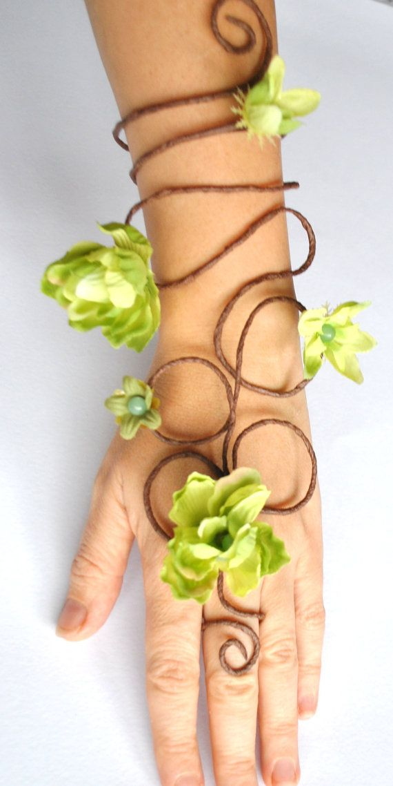 Green flower fairy arm cuff poison ivy slave by Inmyfairygarden