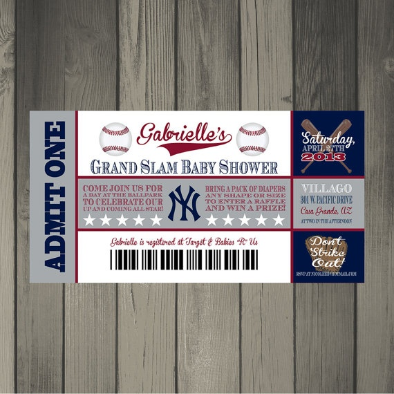New York Yankees Baby Shower Ticket Invitation by CLaceyDesign, $15.00