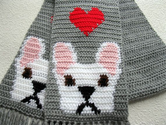 French Bulldog Scarf. Gray crochet scarf with red hearts and white bulldogs…