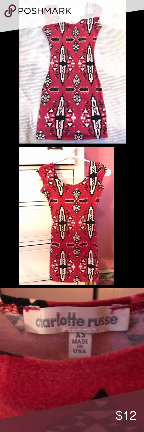 Charolette Russe Red Aztec Body-con Dress Charolette Russe Cap Sleeve Red Aztec Body-con Dress Size XS *Very good condition* Charlotte Russe Dresses Mini