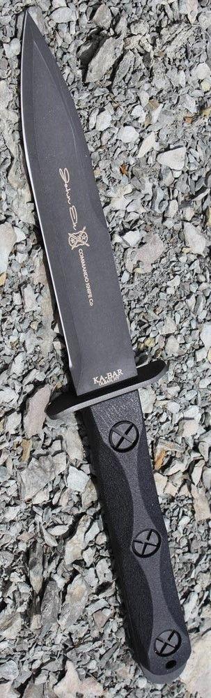 Ka Bar John Ek Commando Knife Co. - EK44 a 6.625 inch 1095 Cro-Van Steel Blade sets in a Glass Filled Nylon Handle 12.625 inch Overall