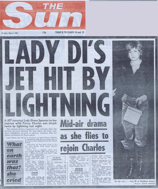 181) May 4, 1981 - Headlines of The Sun newspaper, published on May 4th, after Lady Diana's flight to Aberdeen, Scotland.
