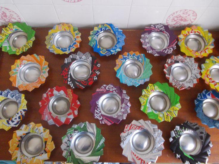 Un Cendrier ou photophore en canettes de soda recyclé Aluminium