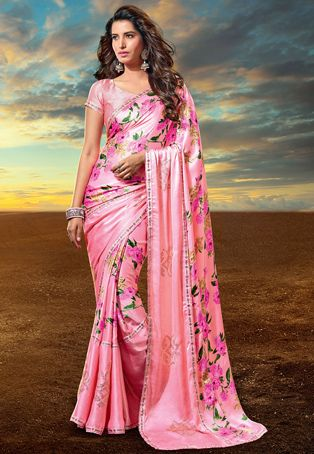 Buy Floral Printed Satin Saree in Pink online, work: Printed, color: Pink, usage: Party, category: Sarees, fabric: Satin, price: $126.08, item code: SBJ2939, gender: women, brand: Utsav
