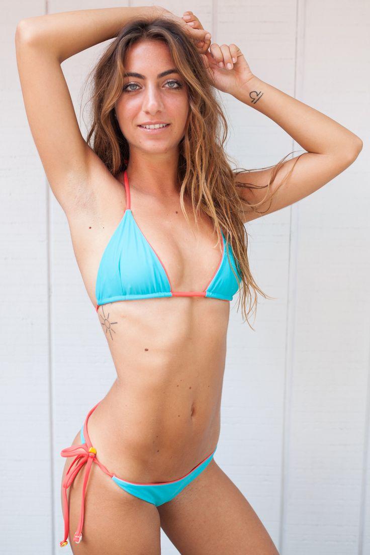 2016 Lolli Swimwear Mexi Time Bikini Top in Dark Coral & Teal