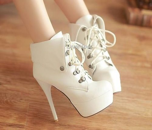 White lace up booties