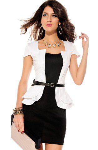 Formal Faux Twinset Color Block Polyester Women's Peplum Dress, WHITE, M in Bodycon Dresses | DressLily.com