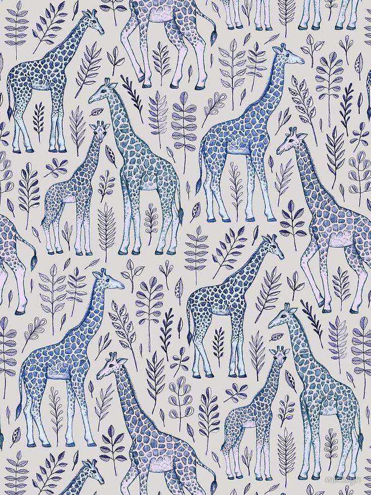 Blue Giraffe Pattern by micklyn