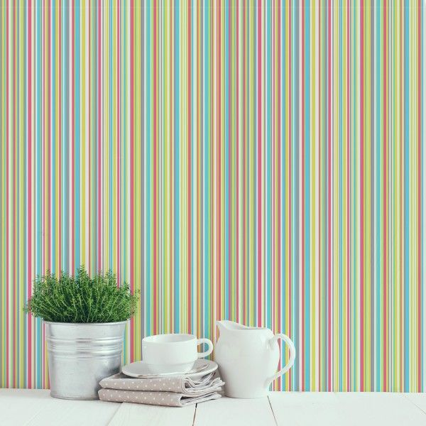 A multi-coloured striped wallpaper. Martez is a contemporary barcode stripe with subtle metallic highlights. Dress up plain walls with these fresh colour combinations and create a smart, modern scheme.