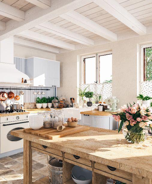 Une cuisine comme à la campagne, rustique et familiale !
