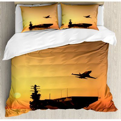 Ambesonne War Home Military Aircraft Jet And Armed Ship The Sea At