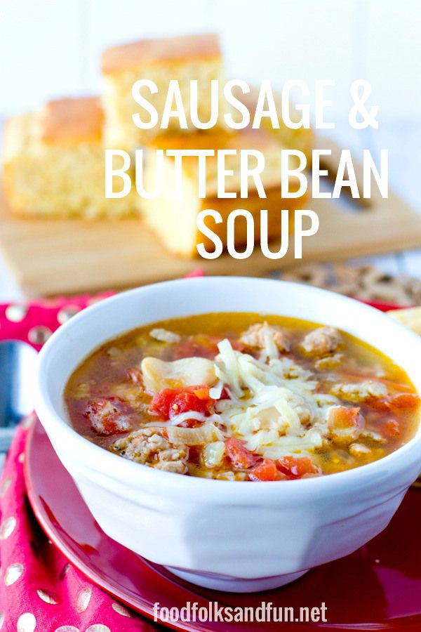 Sausage & Butter Bean Soup. A quick & easy recipe that's made in just 30 minutes! | www.foodfolksandf... | #easyrecipe #quickandeasy #SouperJanuary