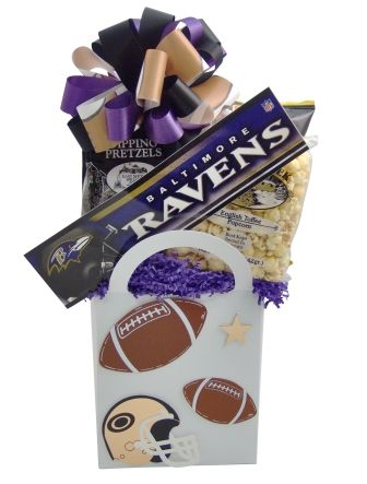 Baltimore Ravens Fan Football Gift Basket