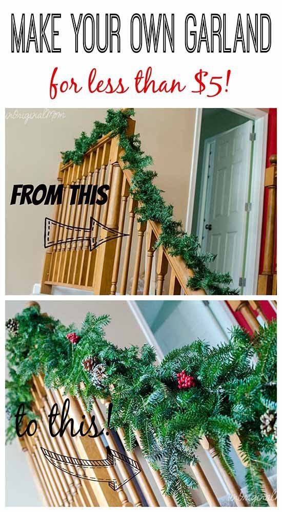 Make your own garland using cheap $2 garland strands from Walmart as a base - then bulk it up with free clippings from the tree farm