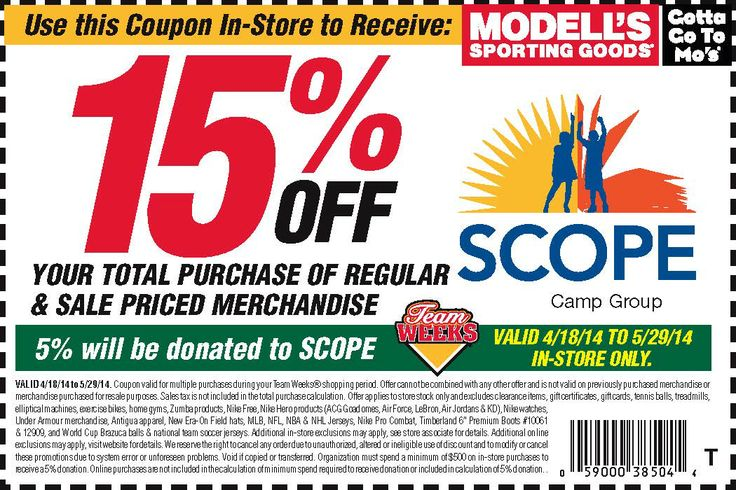 YOUR MODELL'S COUPONS ARE WAITING FOR YOU! Go to any Modell's Sporting Goods store, save 15% of your total purchase of regular and sale priced merchandise and Modell's will donate 5% of sales to SCOPE! Do not wait any longer because the offer ends May 29th! Get ready to summer camp and help us to provide camp scholarships to children in need!