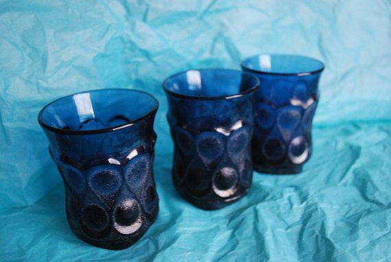 3 Noritake Spotlight Juice Glasses in Blue