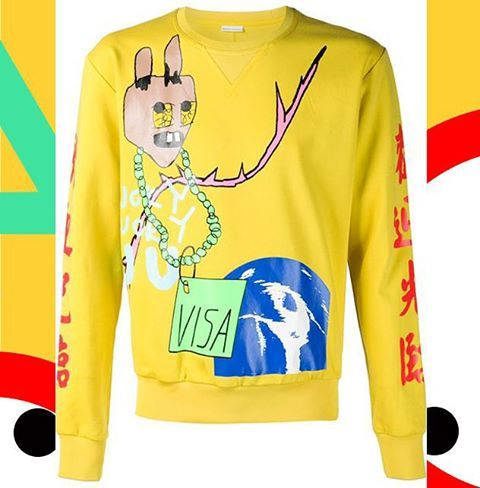 Do you need to get visa to go to...? Bravely melting and mixing colors, styles, and cultures. By a young chinese designer Snangguan Zhe   #sankuanz #sweatshirt #streetwear #streetstyle #urbanfashion #avantgarde #yellow #contemporaryfashion #denialofentry