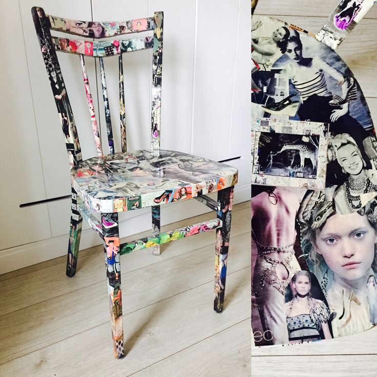 Refurnished chair with collage of magazine paper