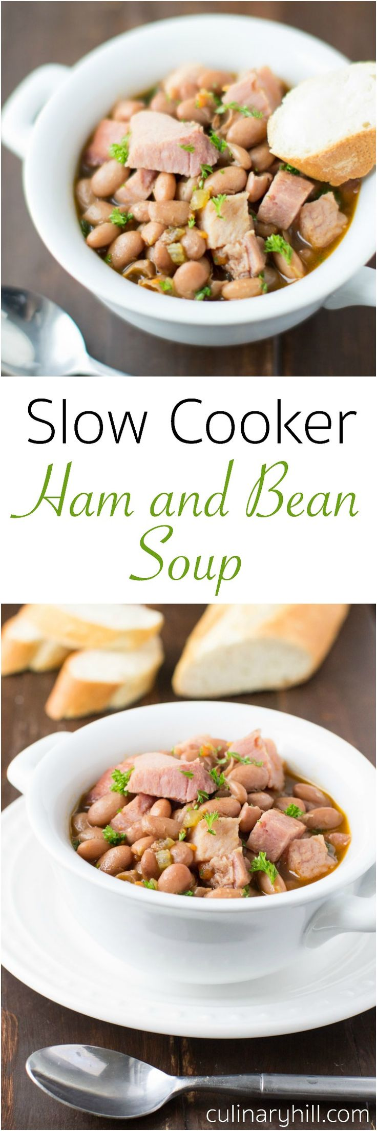 A simple delicious way to put your leftover ham bones to work Slow Cooker Ham and Bean Soup is full of vegetables and pinto beans too. Naturally gluten free!