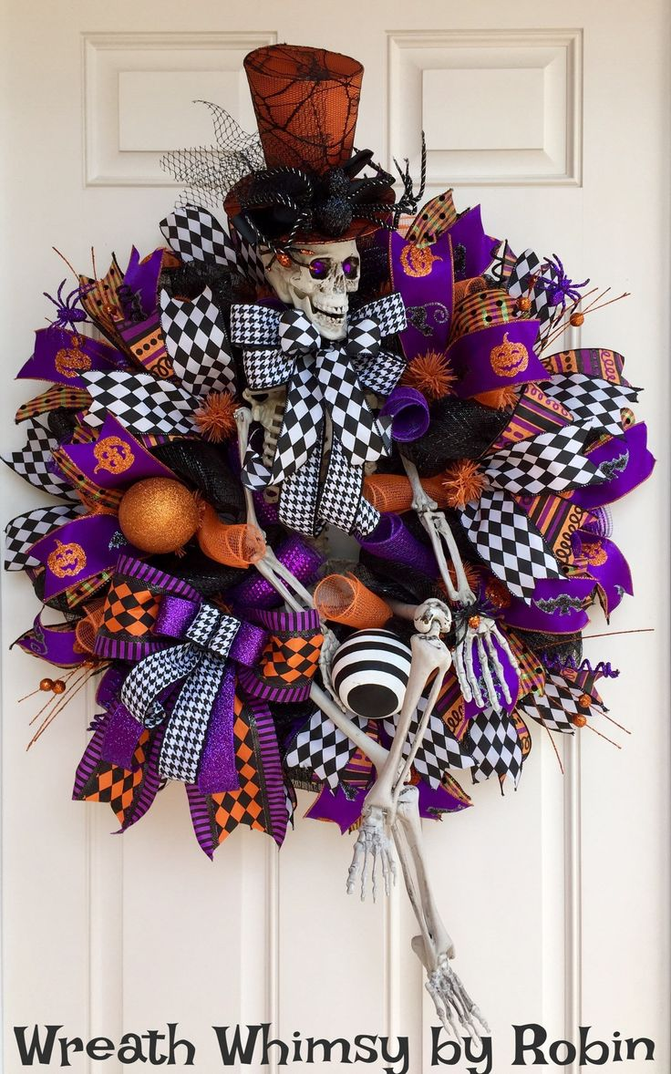 XL Halloween Deco Mesh Skeleton Wreath in Purple, Black & Orange, Front  Door Wreath, Fall Wreath, Halloween Decor, Whimsical Skeleton