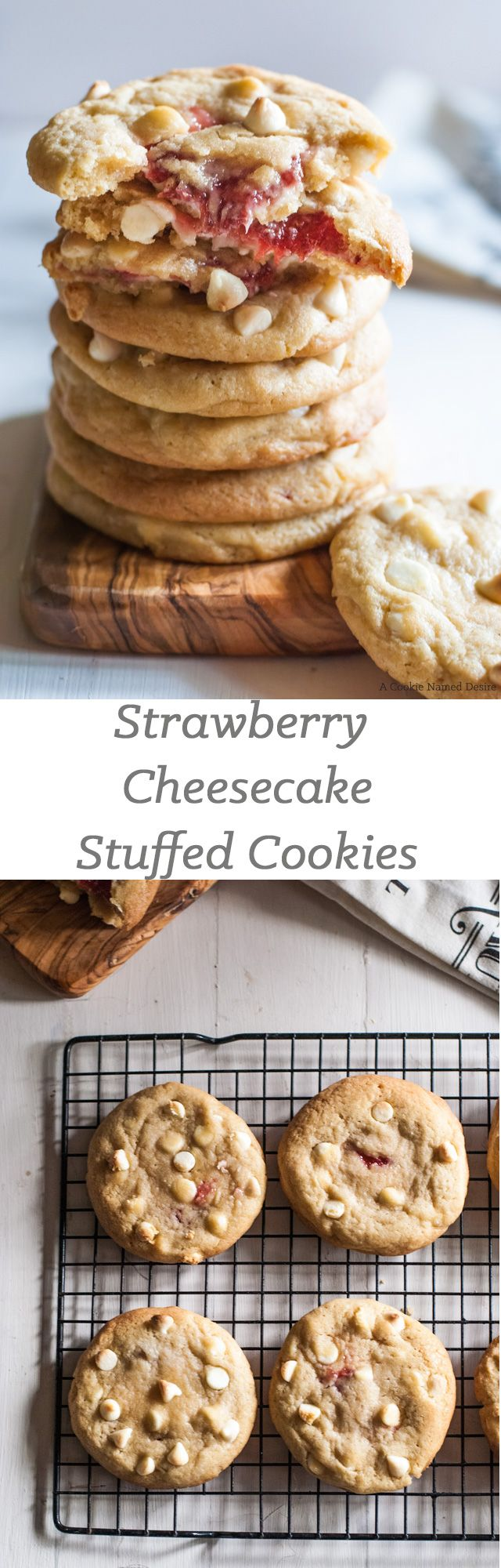 Strawberry cheesecake stuffed cookies. These will be your new favorite cookie to munch on. Crispy edges, chewy middle, and gooey strawberry cheesecake