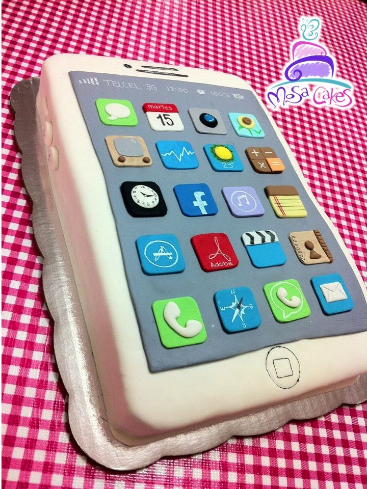 Iphone cake pastel de iphone mosa cakes 3d cakes for Ideas for iphone apps