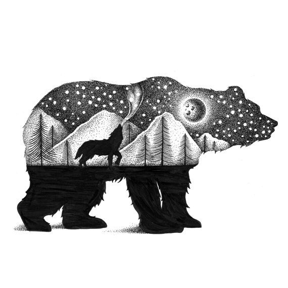 Limited Edition BEAR AND WOLF Signed Art Print Print on natural white, matte, ultra smooth paper using an advanced digital dry ink method to