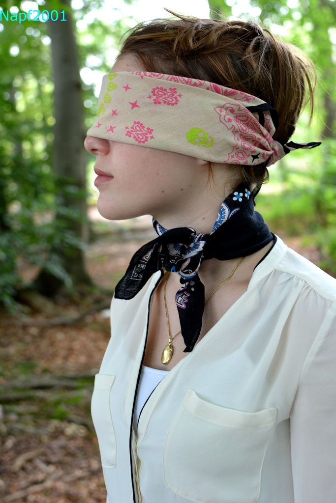 Bondage video blindfold scarf