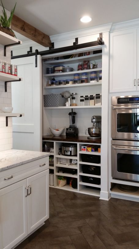 Bypass Barn Door Pantry Open Shelving Cabinets And So Cute