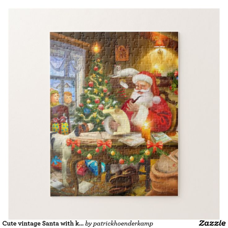 Cute vintage Santa with kids and pets