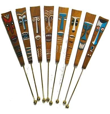 Retro Tiki bar swizzle sticks