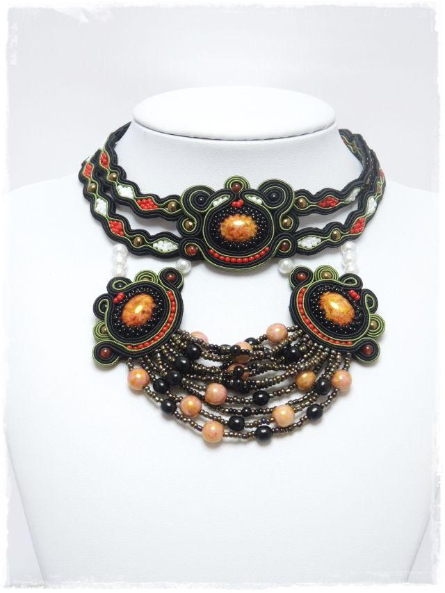 ソウタシエネックレス   soutache necklace  「送料無料」 Allda  C000043