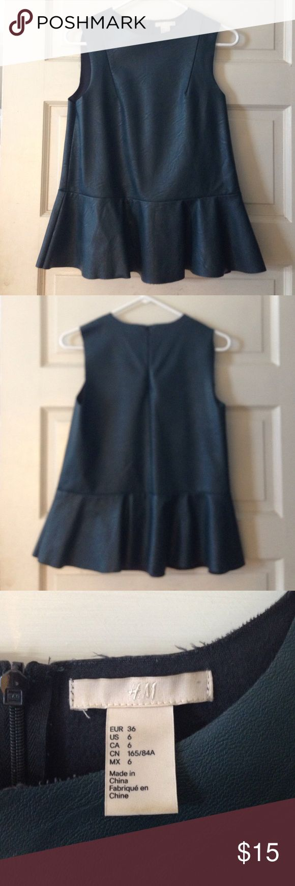 H&M vegan leather peplum top H&M vegan leather sleeveless peplum top in teal size US 6, EUR 36. Excellent condition. Please message me with any questions! H&M Tops Tank Tops