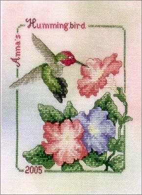 Cross Stitch Craze: Hummingbird with Flowers Cross Stitch Anne's Hummingbird with Pink and Blue Flowers