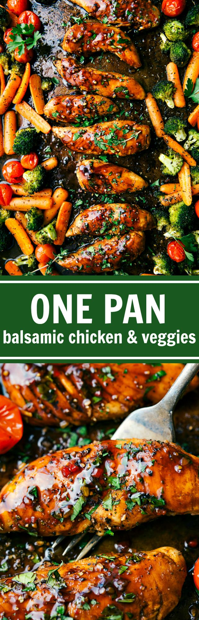 Sweet Balsamic chicken and veggies made in one pan. Ten minute prep and twenty minute cooking time -- this meal is efficient, healthy, and simple to make! via chelseasmessyapron.com