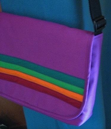 Purple Rainbow Stripe Laptop Bag on Esty