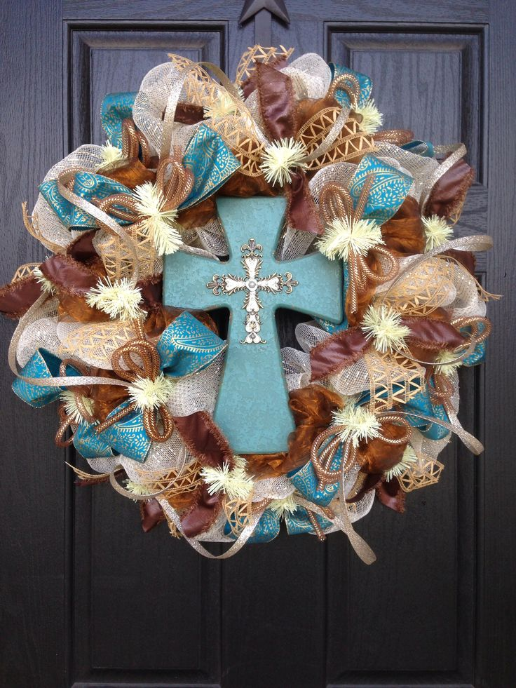 Vintage cross mesh wreath by Glitzy Wreaths