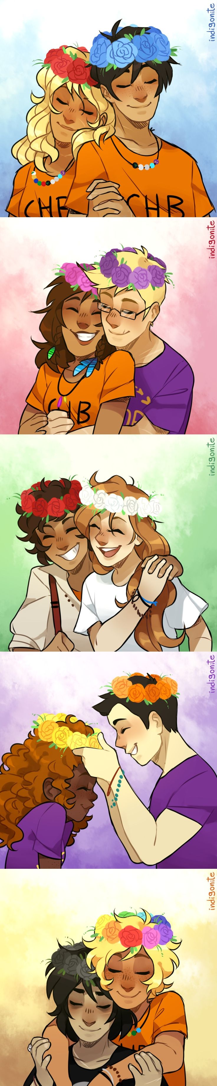 indigonite: A got a couple of solangelo and percabeth requests and I got a little bit carried away  Flower crowns for everyone!