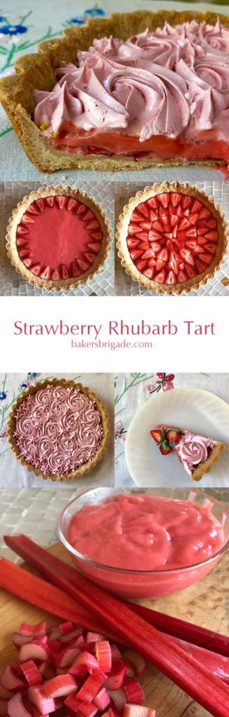 Strawberry Rhubarb Tart-Rhubarb Curd and Strawberry Meringue