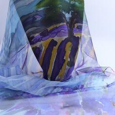 """Etole écharpe foulard en mousseline de soie peint main """" couleur lavande """""""